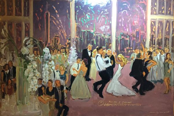 Artist captures wedding live atLiberty House on Memorial Day