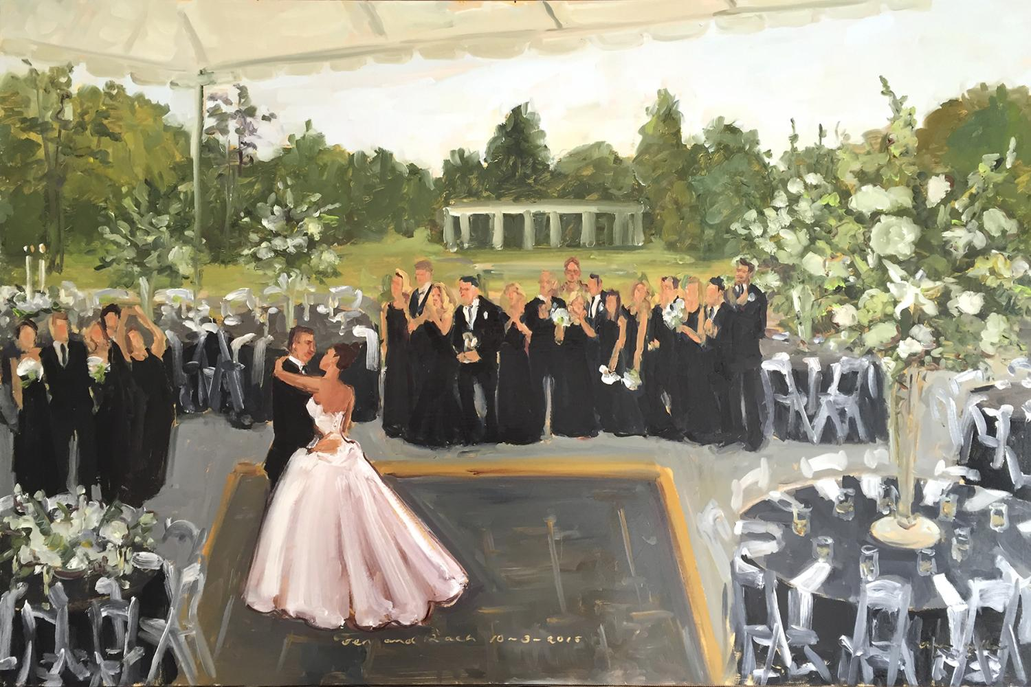 Greystone Hall wedding painted live by The Event Painter Joan Zylkin