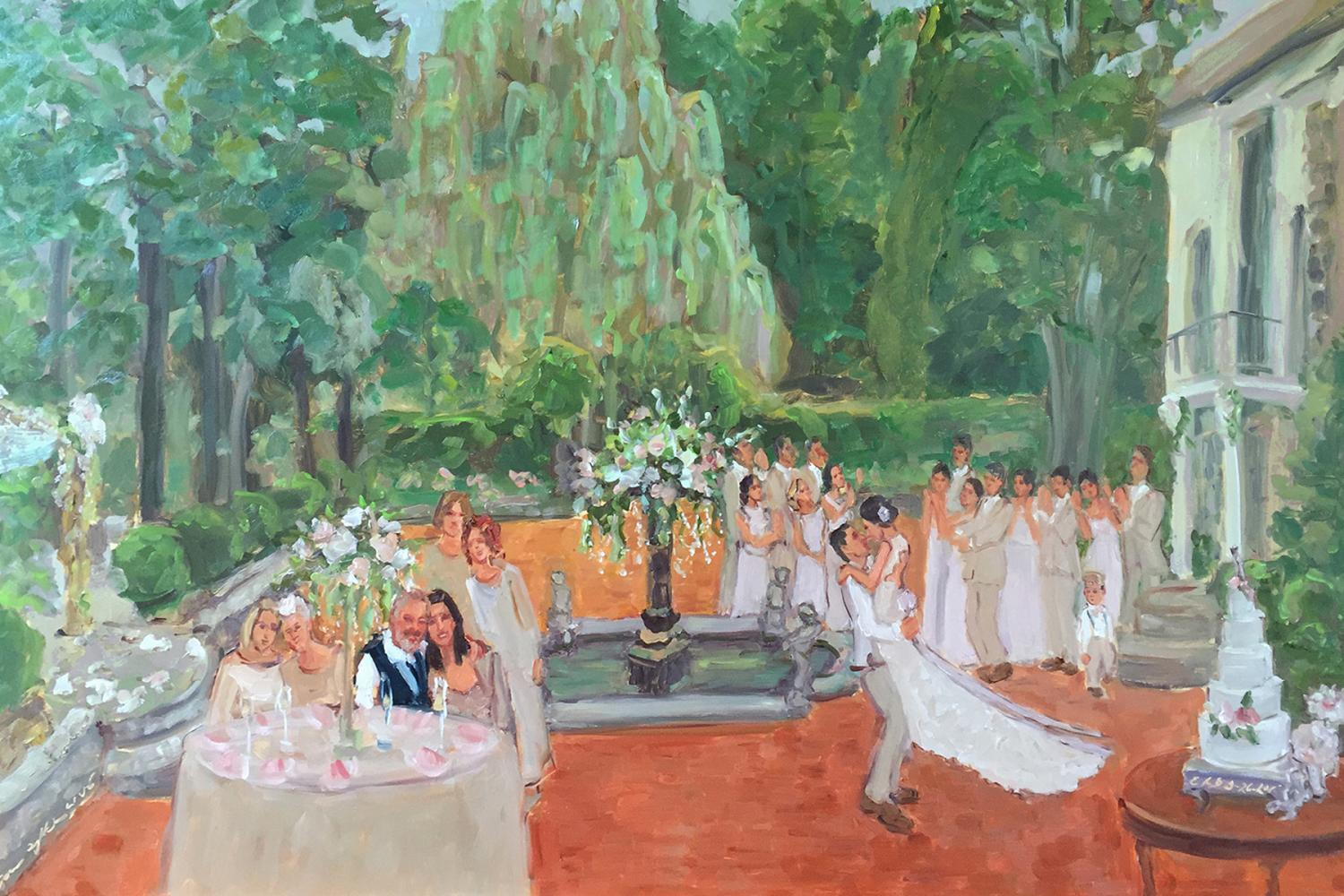 Artist paints Holly Hedge Estates Wedding live event painting