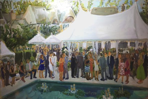 a family business celebrates 60 good years, with an elegant soiree, a kiss painted live