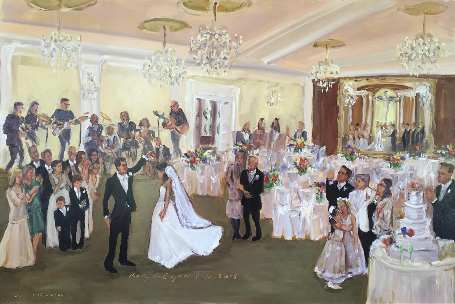 Live event painting Bethlehem PA, Blue Grill Wedding