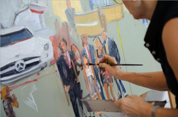 Live Event Muralist, Joan Zylkin at Mercedes Benz
