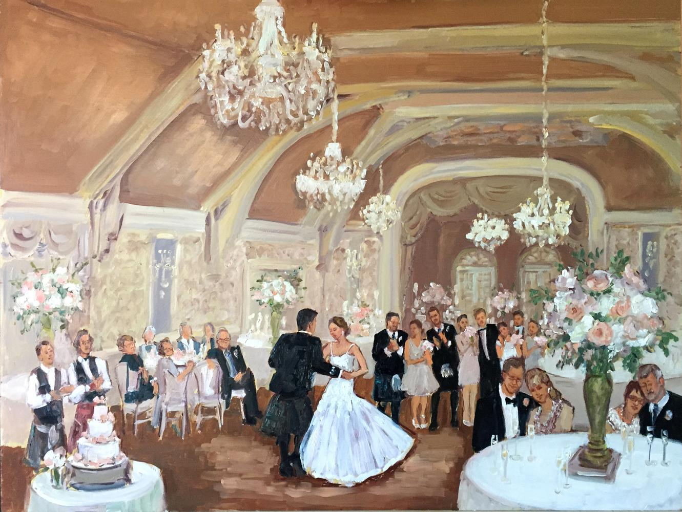 Live event painting at Merion Cricket Club wedding