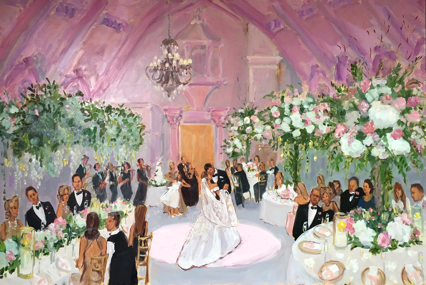 Live event painting at Ashford Estate wedding