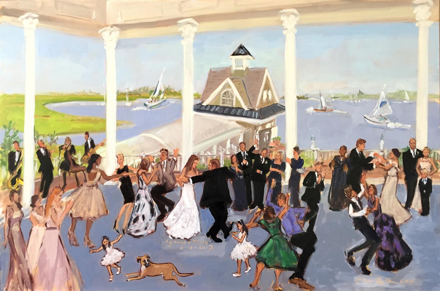 Live event painting at Mallard Yacht Club wedding