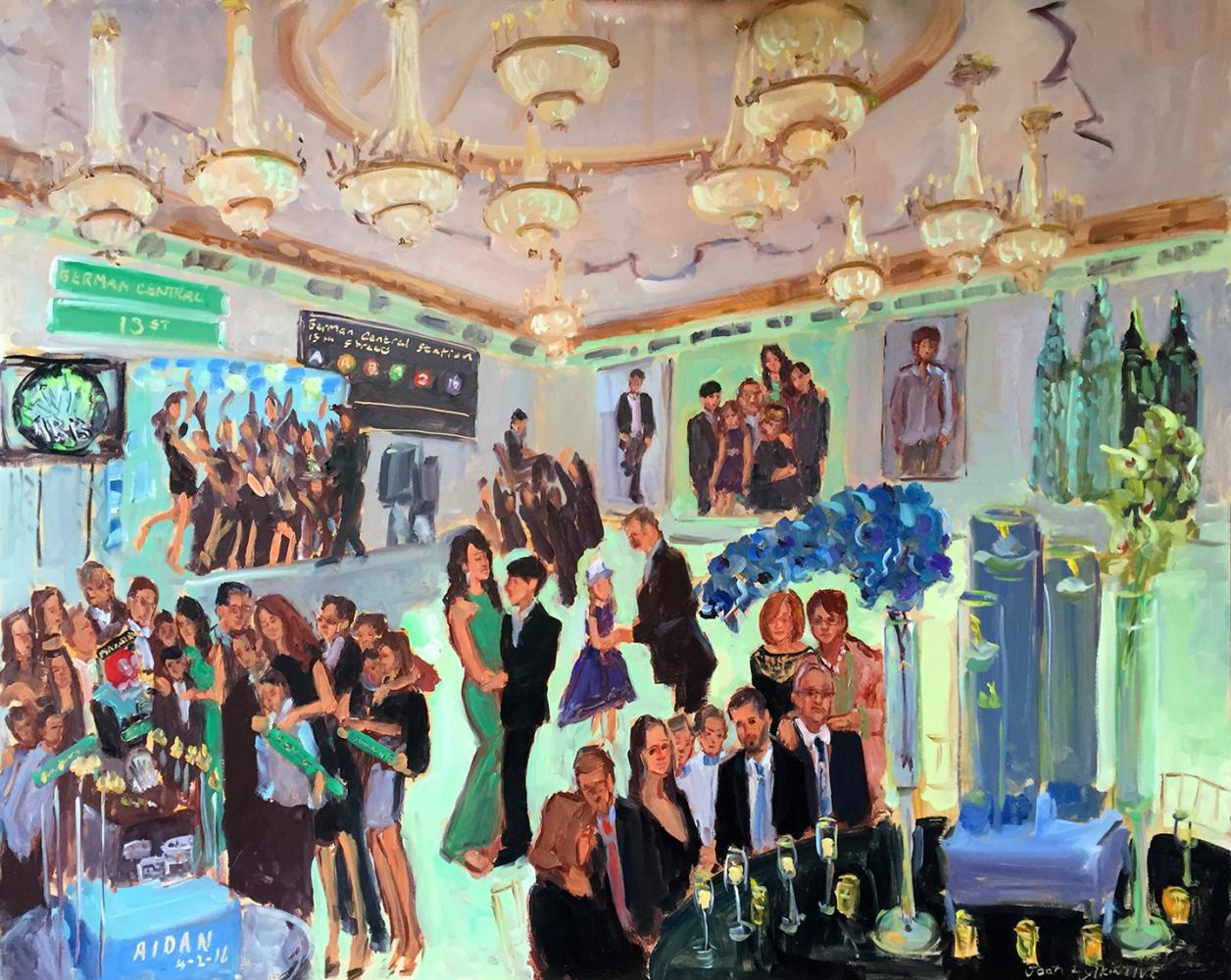 Live event painting at Bar Mitzah with Manhattan theme.