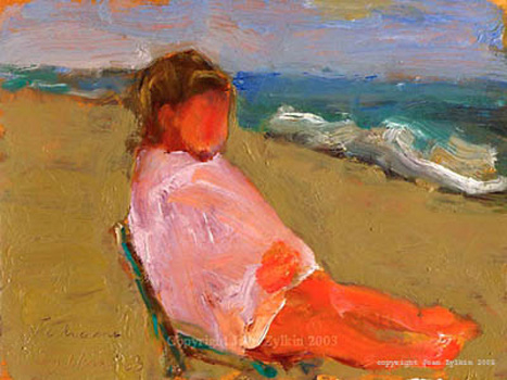 live painting by Joan Zylkin :  child on beach, oils, SOLD