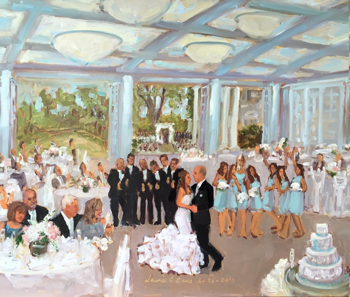 Wedding Artist paints live at a wedding at Radnor Valley CC