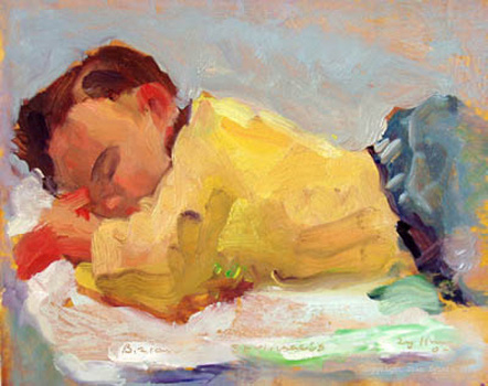 live pbaby portrait panted live by Joan Zylkin:  sleeping baby 8x10 ins sold